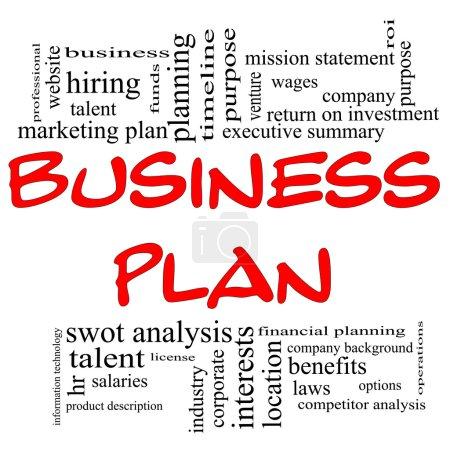 Foto de Business plan palabra concepto de cloud en letras rojas con grandes términos en negro tal Resumen Ejecutivo, declaración de la misión, beneficios, planificación y y mucho más. - Imagen libre de derechos