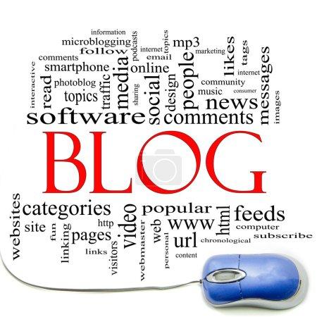 Photo pour Concept de nuage de mot blog avec une souris d'ordinateur et les excellentes conditions tels qu'internet, aider, suivre, www, email, ordinateur, etc.. - image libre de droit