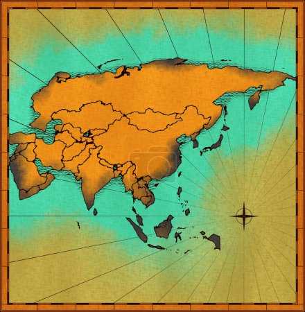 Photo for Illustration of old map of Asia - Royalty Free Image