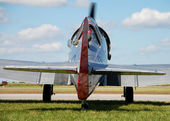 Rear view of vintage WWII warbird