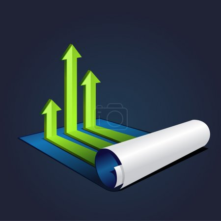 Vector illustration roll of blue paper with graph or diagram with arrows