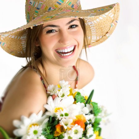 Photo for Model girl with bouquet - Royalty Free Image