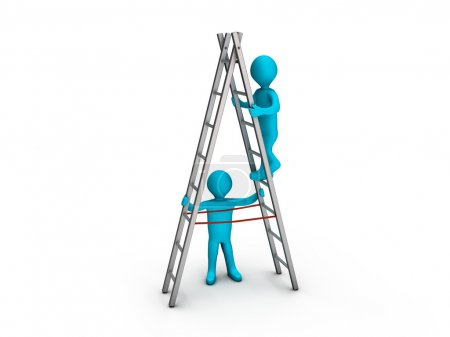 Man climbing ladder and another helping him