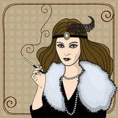 Smoking woman in retro style
