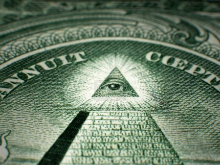 Photo for Perspective shot, shallow depth of field, selective focus macro close-up of Masonic All-Seeing-Eye on USA One Dollar Bill Federal Reserve Note - Royalty Free Image