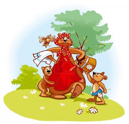 Illustration pour Mère ours avec deux oursons va se baigner - image libre de droit