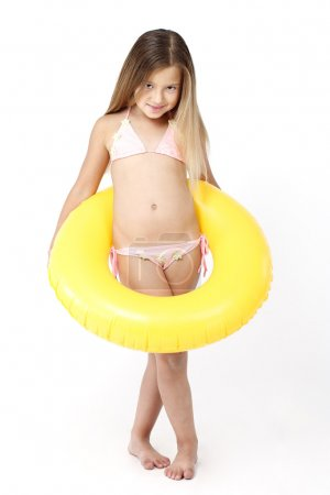 Photo for Little girl with a rubber ring - Royalty Free Image