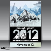 Snow capped mountains event flyer  Vector illustration
