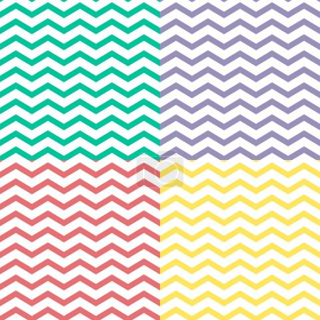 Simple retro zigzag seamless pattern, in four colors, vector