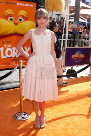 """Photo for LOS ANGELES - FEB 19: Taylor Swift arrives at the """"Lorax"""" Premiere at the Gibson Ampitheatre on February 19, 2012 in Los Angeles, CA - Royalty Free Image"""