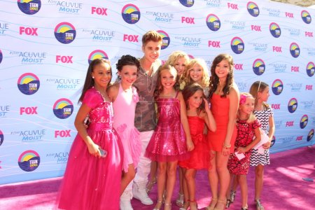 Photo for LOS ANGELES - JUL 22: Dance Moms Cast with Justin Bieber arriving at the 2012 Teen Choice Awards at Gibson Ampitheatre on July 22, 2012 in Los Angeles, CA - Royalty Free Image
