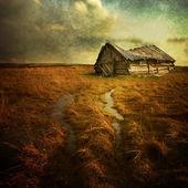 """Постер, картина, фотообои """"старый дом с привидениями на пустой области"""""""