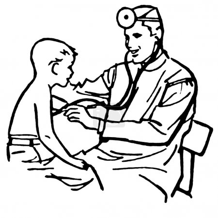 A black and white version of a vintage drawing of a doctor having a consultation