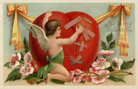 A vintage Valentines card with a cherub patching up a broken heart
