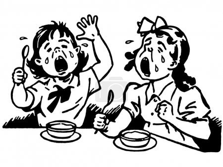 A black and white version of two young girls at a dinner table both crying in anger