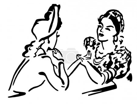 A black and white version of two women in old fashioned attire conversing