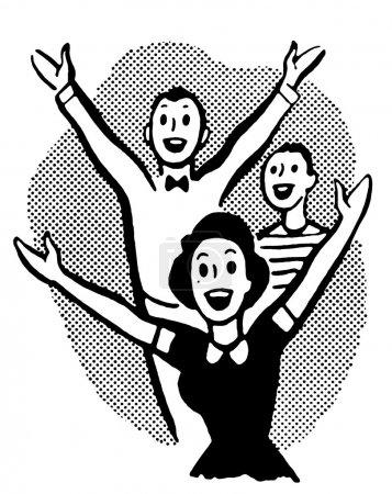 Photo pour Une version noir et blanc d'un groupe de jeunes excités - image libre de droit