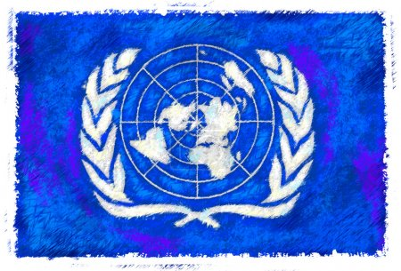 Drawing of the flag of United Nations