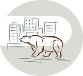 Lední medvěd stojící proti panorama města