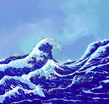 Japanese sea waves with blue sky
