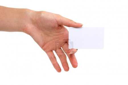 Blank business card in hand