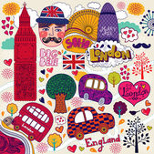 Vector set of London symbols and hand lettering of main place in town Welcome in London