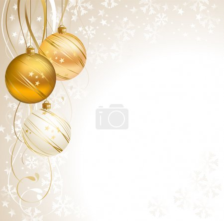 Light Christmas backdrop with three balls