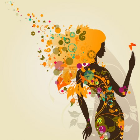 Illustration for Decorative composition with girl - Royalty Free Image