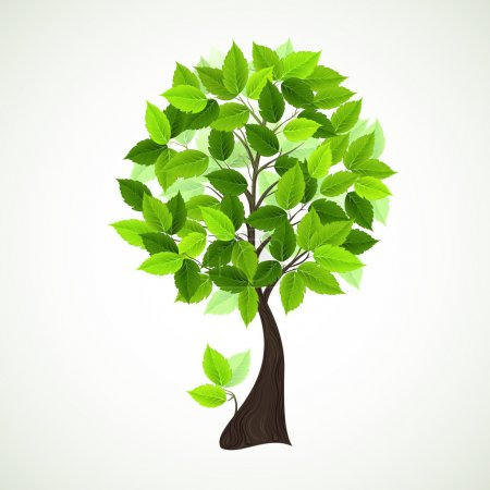 Illustration pour Version raster de Season tree avec feuilles vertes - image libre de droit
