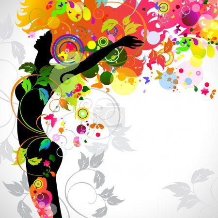 Illustration for Raster version of Summer decorative composition with girl - Royalty Free Image