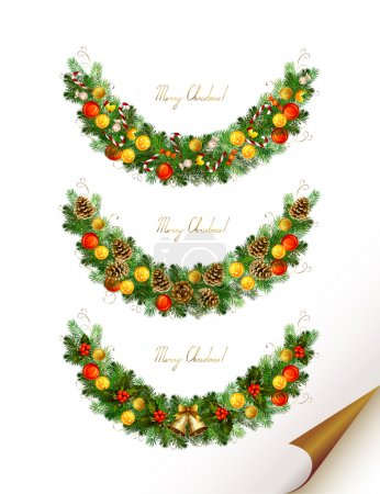 Christmas vector set of three garland with fir tree , evening balls and new year's bells