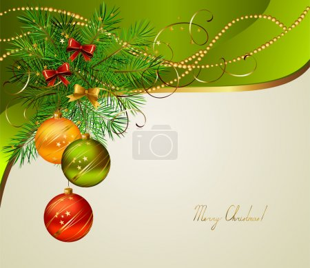 Christmas background with three evening balls