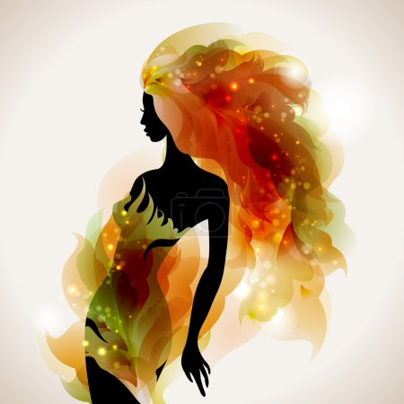 Illustration for Raster version of abstract decorative composition with girl - Royalty Free Image