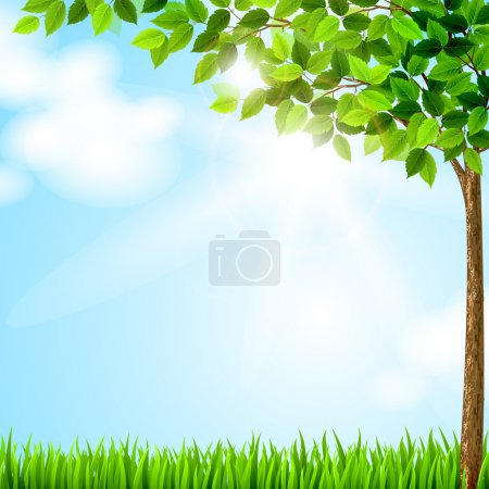 Illustration for Tree with green leaves growing on the glade - Royalty Free Image