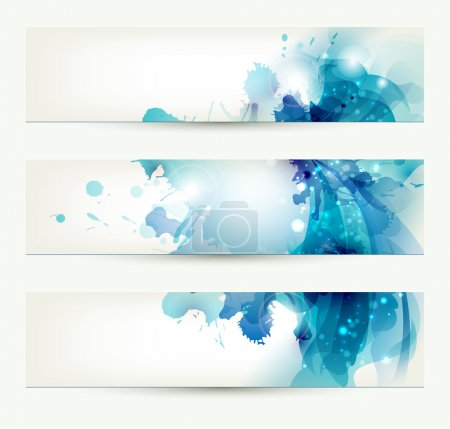 Illustration for Set of three banners, abstract headers with blue blots - Royalty Free Image