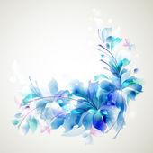 Pályázati háttér három absztrakt virág és a kis pillangók