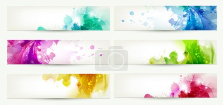Illustration for Set of six banners, abstract headers with varicolored blots - Royalty Free Image