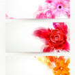 Set of three banners, abstract headers with flower...