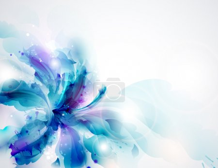 Background with blue abstract flower