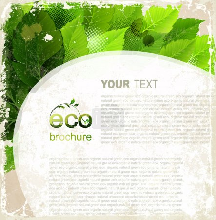 Eco brochure, oval frame with green leaves on the vintage