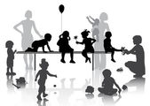 8 children playing with some toys