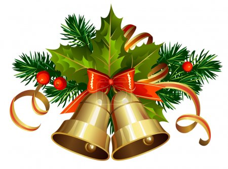 Illustration for Christmas decoration with evergreen trees and bells - Royalty Free Image