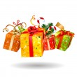 Four jumping bright Christmas gifts...