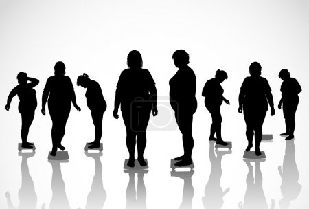 Illustration for 8 figures of thick women are on the scales - Royalty Free Image
