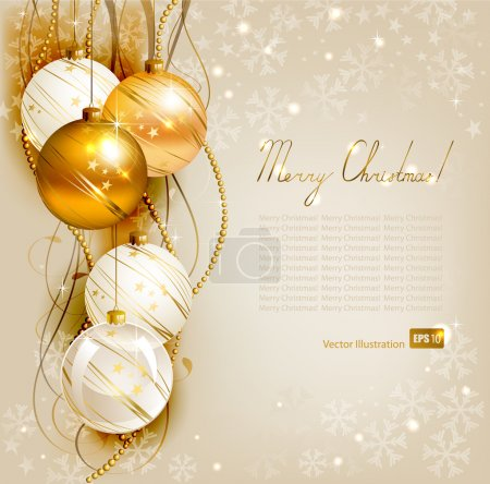 Photo for Elegant Christmas background with gold and white evening balls - Royalty Free Image