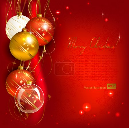 Red Christmas background with gold and red evening balls