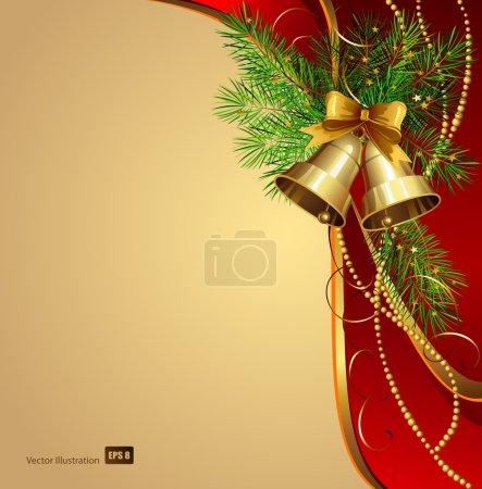 Festive bells with Christmas fir tree