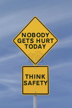 Photo for Road sign highlighting the importance of safety in the workplace - Royalty Free Image