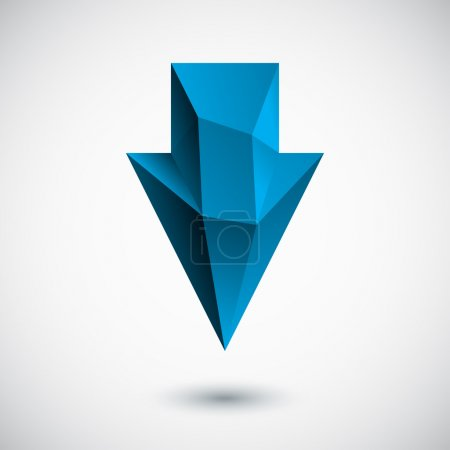 Illustration for Trendy 3d cyan (blue) down arrow with shadow and light background. Vector illustration. - Royalty Free Image