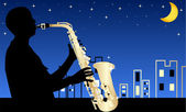 Silhouette of jazz musician by night
